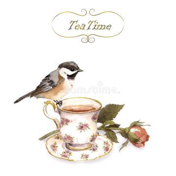carte-d-invitation-de-vintage-avec-la-rétro-conception-oiseau-tasse-thé-bourgeon-floral-rose-dans-couleur-minable-107940349
